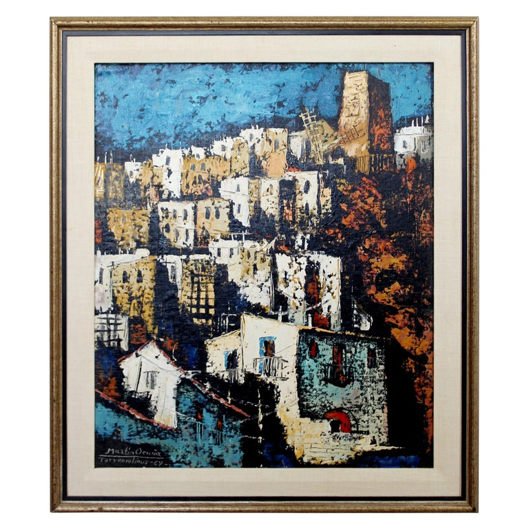 Mid-Century Modern Framed Oil Canvas Painting Signed Martin Ocanez City Scene 69 For Sale