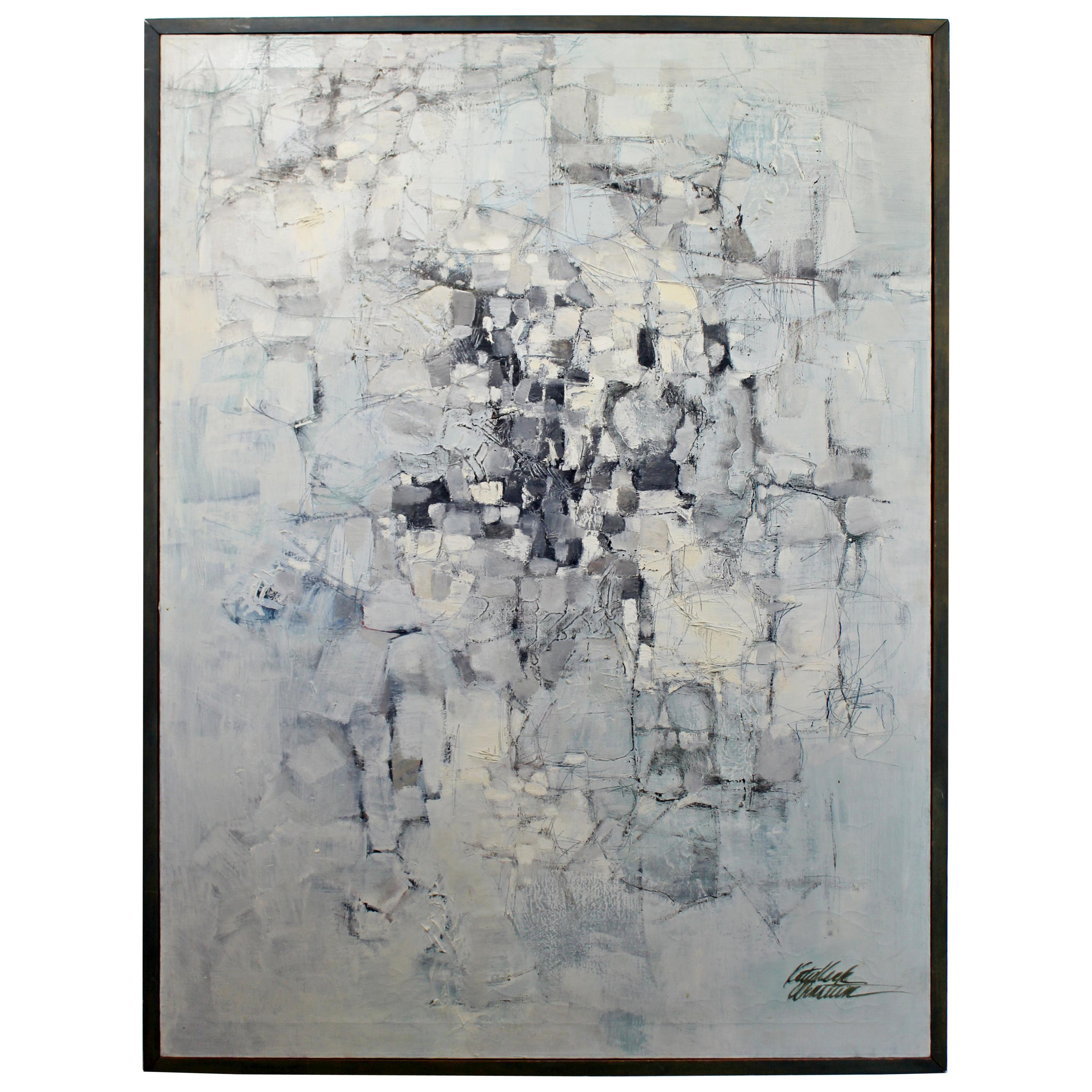 Mid-Century Modern Framed Oil on Canvas Abstract Painting Signed Katy Arnstein