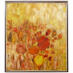 Mid-Century Modern Framed Oil on Canvas Flower Painting Signed Szafran, 1960