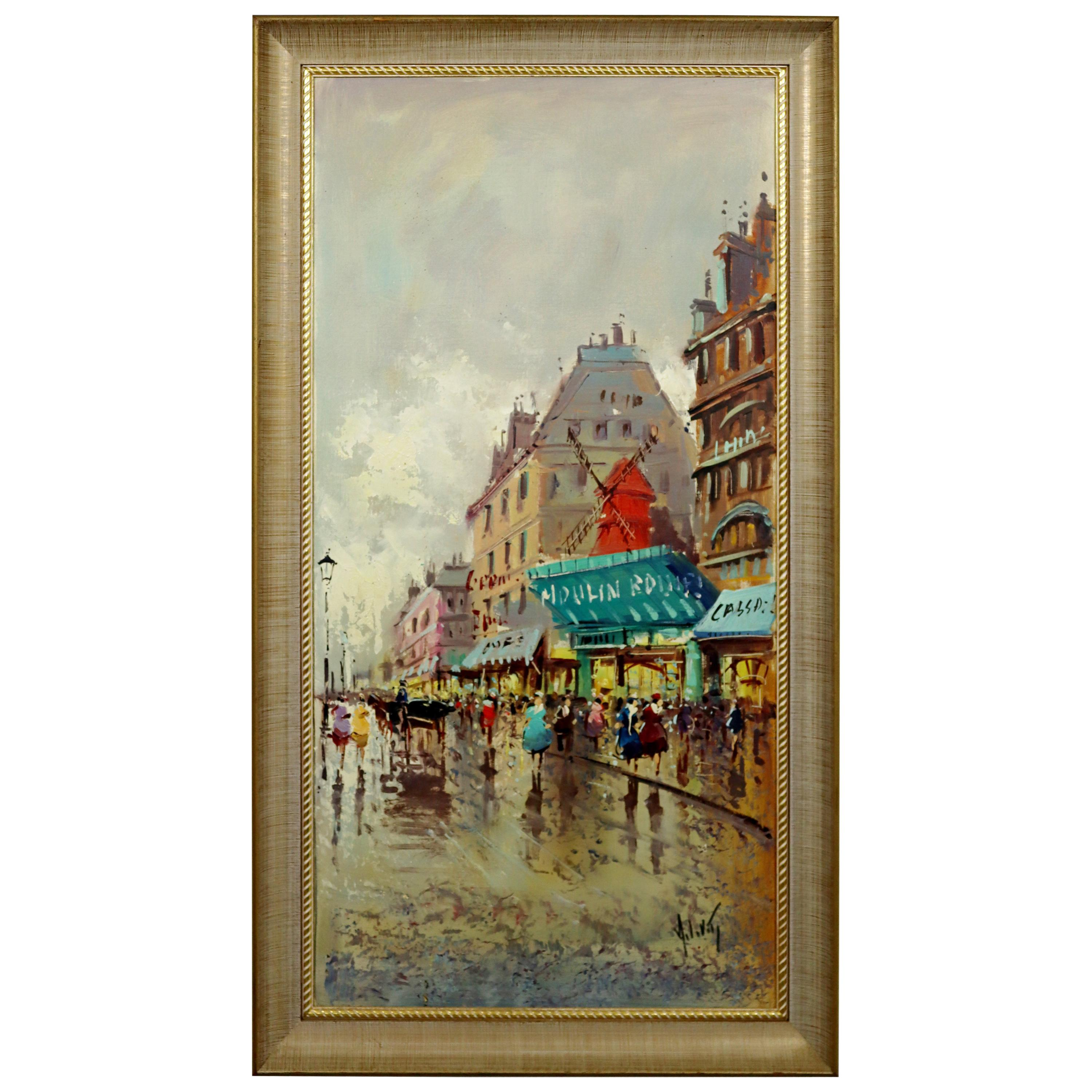 Mid-Century Modern Framed Oil Painting Canvas Signed Antonio Devity Moulin Rouge