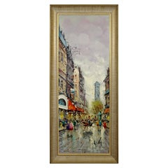 Mid-Century Modern Framed Oil Painting Canvas Signed Antonio Devity Paris Street