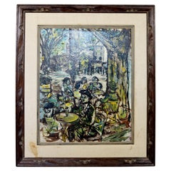 Mid-Century Modern Framed Oil Painting Canvas Signed D. Demers European Cafe