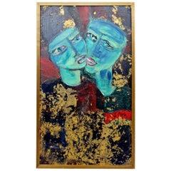 Mid-Century Modern Framed Oil Painting Gold Leaf Signed Gregory Fink Moi et Toi