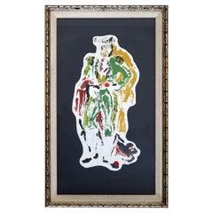 Mid-Century Modern Framed Oil Painting on Canvas Toro Scene Signed Morales 1960s