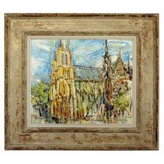 Mid-Century Modern Framed Oil Painting on Linen Signed Liuboslav Hutsaliuk 1960s