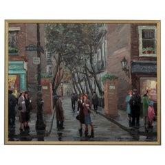 Mid-Century Modern Framed Oil Painting on Linen Signed Vladimir Lazarev, 1950s