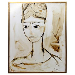 Mid-Century Modern Framed Oil Painting Quietude Signed Gregory Fink Portrait