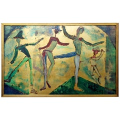 Mid-Century Modern Framed Oil Painting w/ Gold Leaf Signed Gregory Fink Dancers