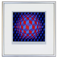 Mid-Century Modern Framed Op Art Serigraph Signed by Vasarely Cheyt Rond, 1970s