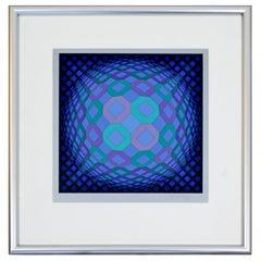 Mid-Century Modern Framed Op Art Serigraph Signed, Vasarely Okta Pos 1970s Blue