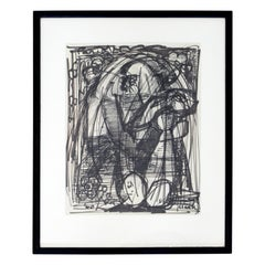Mid-Century Modern Framed Original Abstract Marker Drawing Signed Clark, 1960