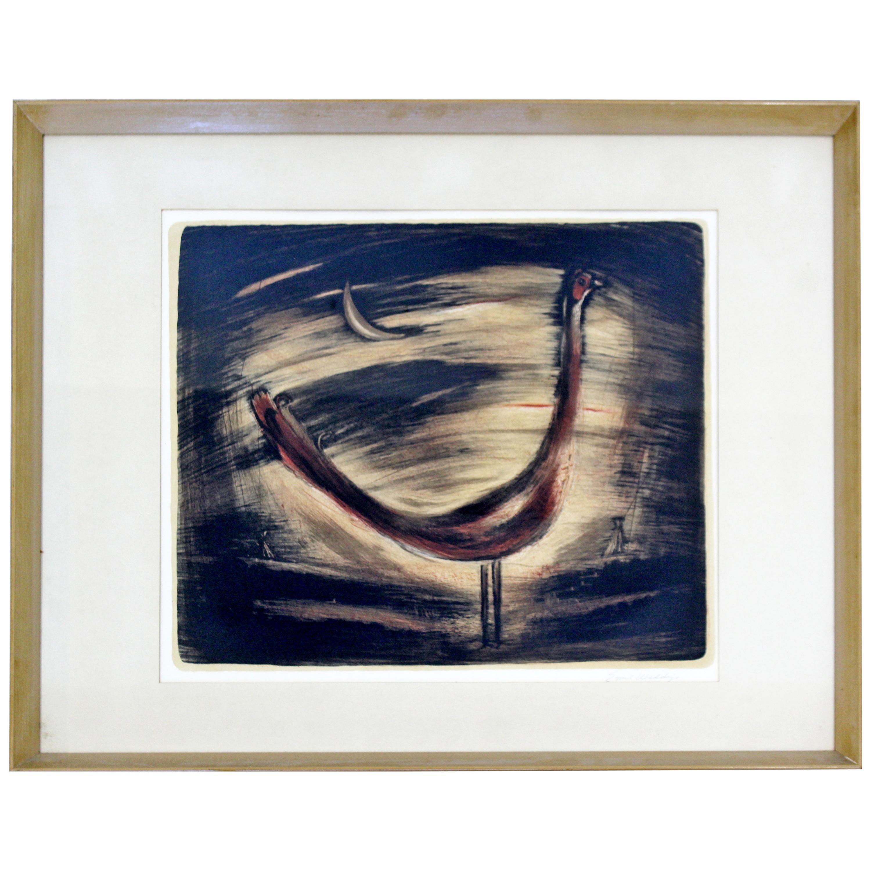 Mid-Century Modern Framed Original Drawing Signed Emil Weddige Rooster in Moon