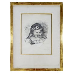 Mid-Century Modern Framed Original Lithograph Enfant Signed by Claude Renoir