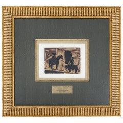Mid-Century Modern Framed Pablo Picasso Avant La Pique Lino Cut Lithograph 1960s