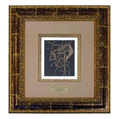 Mid-Century Modern Framed Pablo Picasso Tete De Femme Lithograph 1960s COA