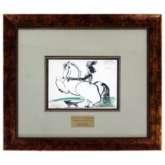 Mid-Century Modern Framed Pablo Picasso Toros Illustration Lithograph 1950s COA