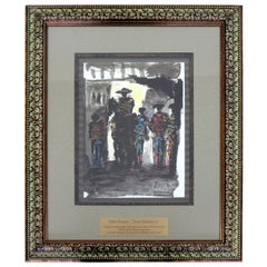 Mid-Century Modern Framed Pablo Picasso Toros Illustration Lithograph 1960s