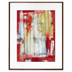 Mid-Century Modern Framed Painting Signed R. Gilbert 1960s Red Abstract Dated