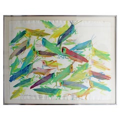 Mid-Century Modern Framed Pastel Art Signed Walasse Ting Grasshoppers, 1960s