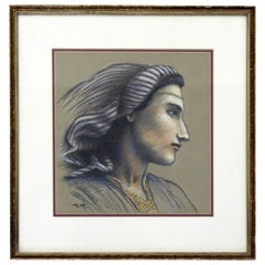 Mid-Century Modern Framed Pastel on Paper Signed by Martin Maddox Moroccan Face