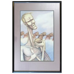 Mid-Century Modern Framed Pencil Watercolor Signed Ginn Surrealism