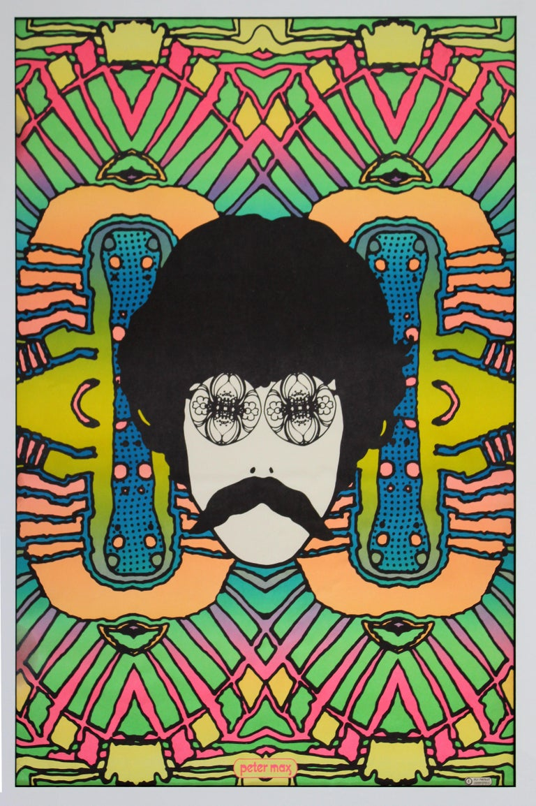For your consideration is a captivating, framed self portrait poster, by Peter Max, circa 1968. In very good vintage condition. The dimensions are 35