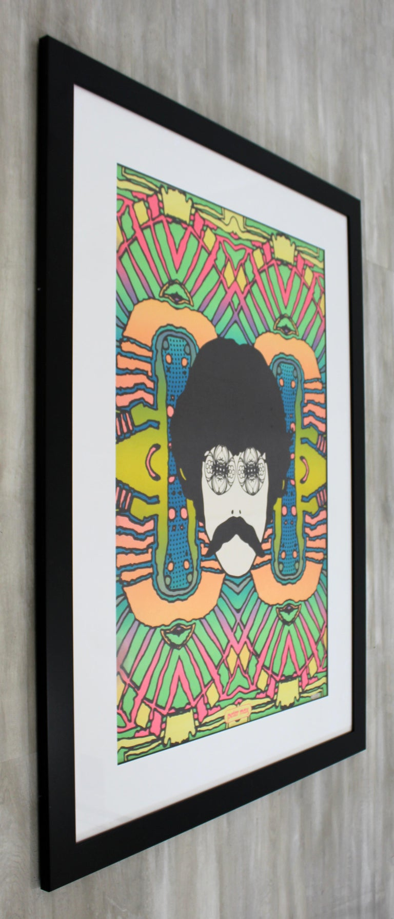 Mid-Century Modern Framed Peter Max Self Portrait Poster, 1960s In Good Condition For Sale In Keego Harbor, MI