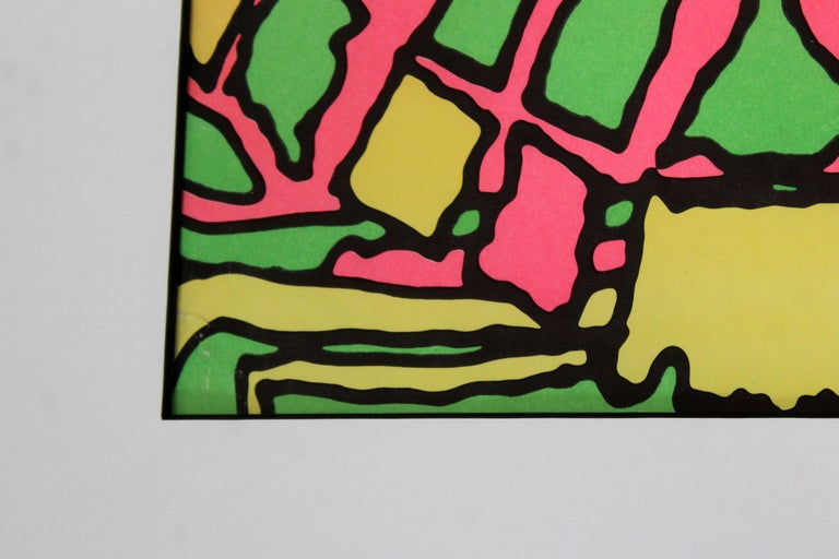 Mid-Century Modern Framed Peter Max Self Portrait Poster, 1960s For Sale 1