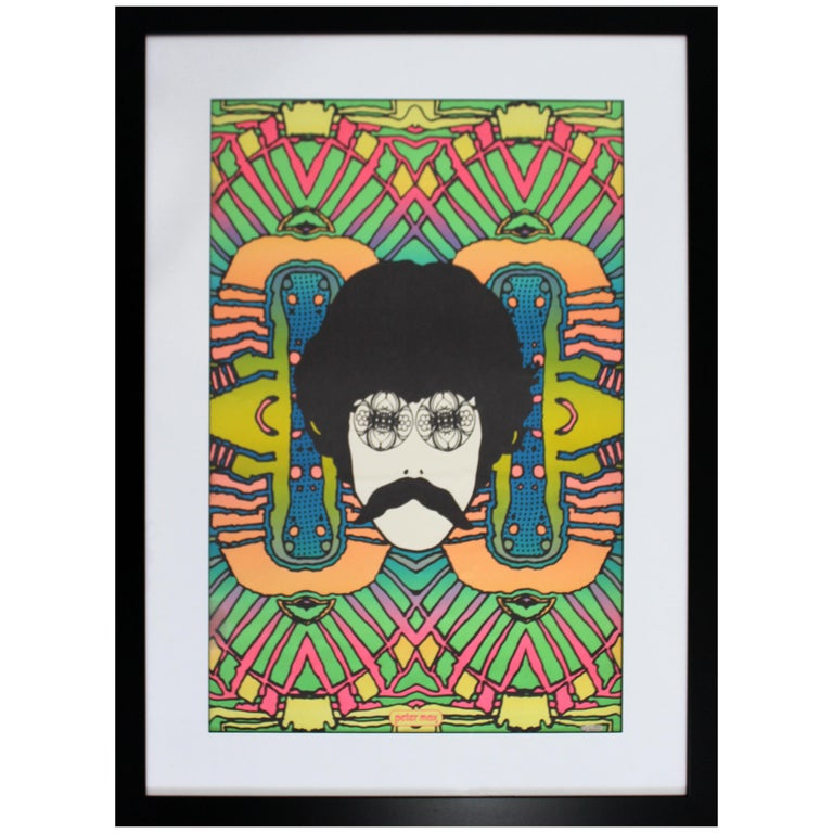 Mid-Century Modern Framed Peter Max Self Portrait Poster, 1960s For Sale
