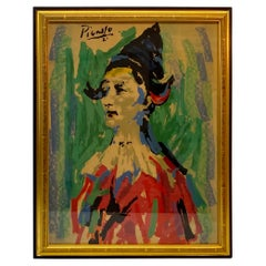 Mid-Century Modern Framed Picasso Harlequin Lithograph, c.1950s