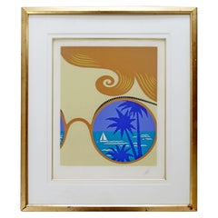 Mid-Century Modern Framed Rare Lithograph Winter Resort A.P. Signed Erte, 1974