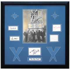Mid-Century Modern Framed Rat Pack Picture & Signatures Sinatra Martin Davis