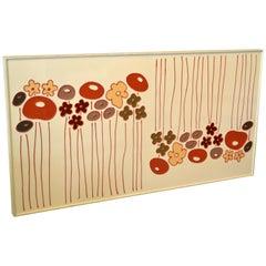 Mid-Century Modern Framed Rectangular Beige Enamel Flower Wall Art