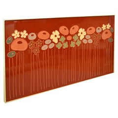 Mid-Century Modern Framed Rectangular Brown & Tan Enamel Flower Wall Art