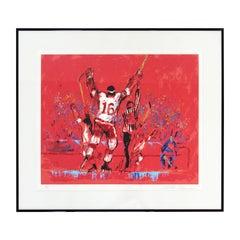 Mid-Century Modern Framed Red Goal Litho Signed Leroy Neiman 1970s 170/300