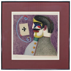 Mid-Century Modern Framed Richard Lindner Lithograph Signed 1975 42/125