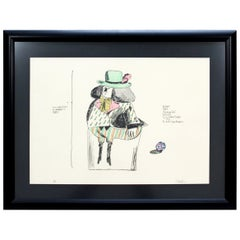 Mid-Century Modern Framed Robert Israel Signed AP Hand Colored Litho Choregos