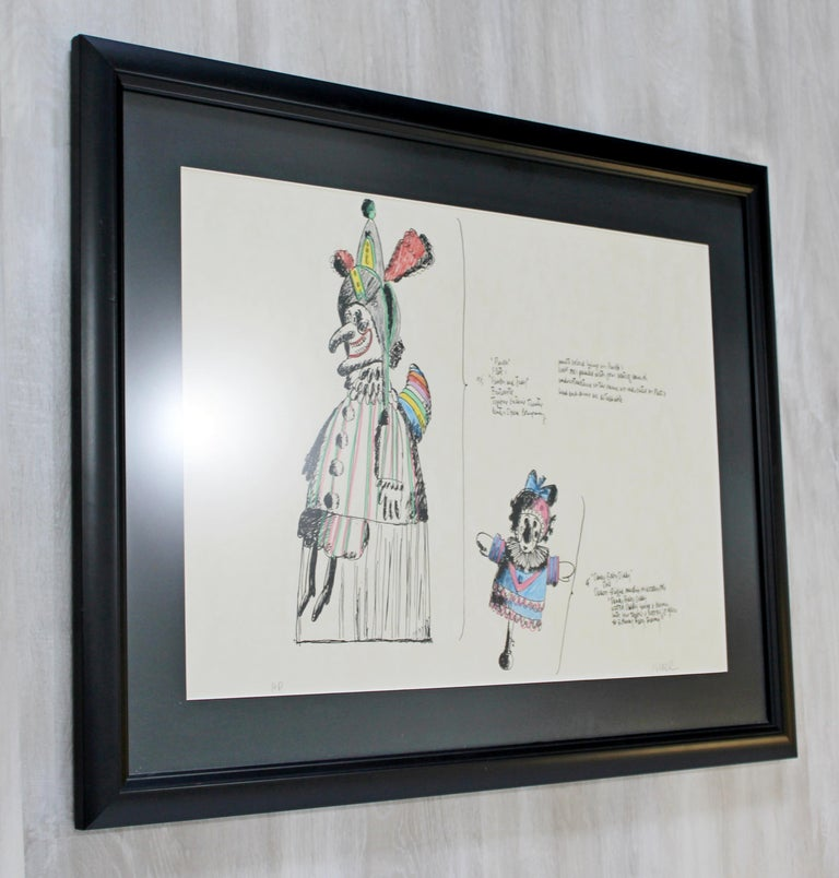 Mid-Century Modern Framed Robert Israel Signed AP Hand Colored Litho Punch 1970 In Good Condition For Sale In Keego Harbor, MI