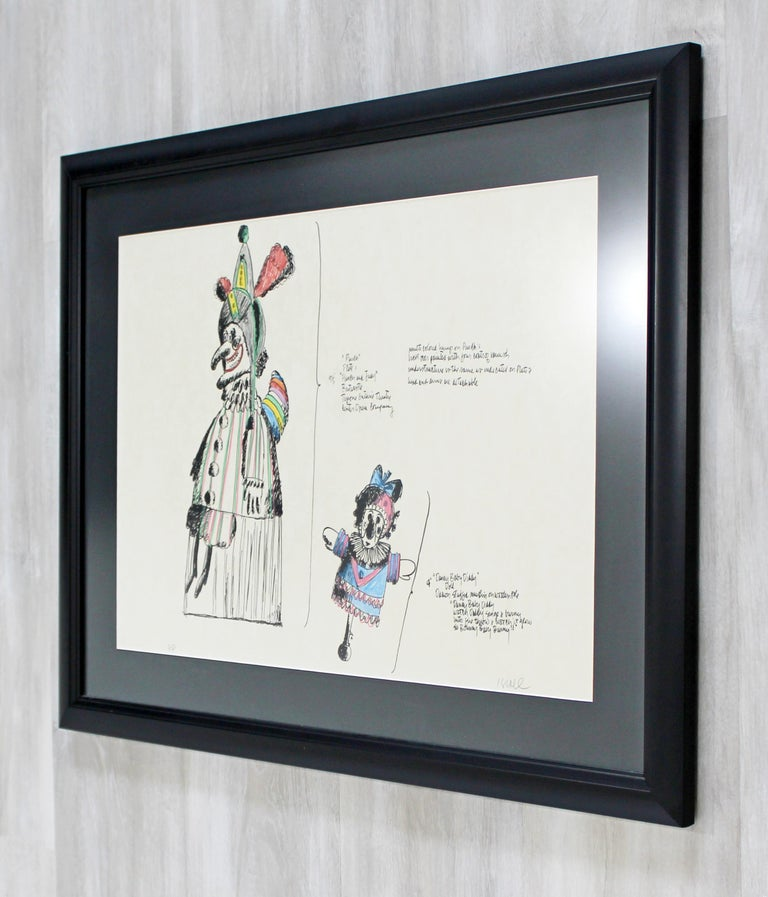 Late 20th Century Mid-Century Modern Framed Robert Israel Signed AP Hand Colored Litho Punch 1970 For Sale