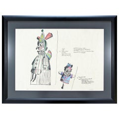 Mid-Century Modern Framed Robert Israel Signed AP Hand Colored Litho Punch 1970