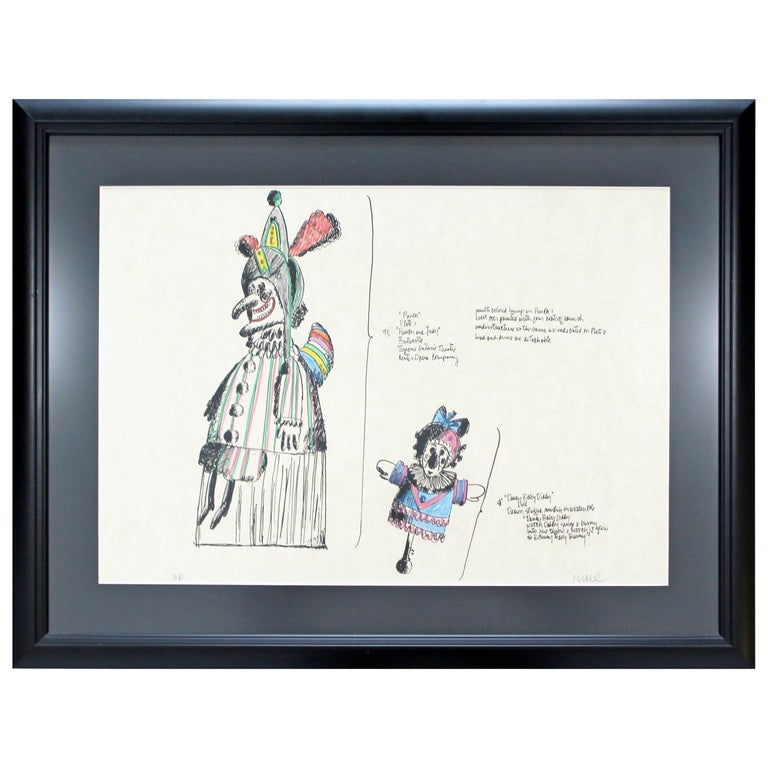 Mid-Century Modern Framed Robert Israel Signed AP Hand Colored Litho Punch 1970 For Sale