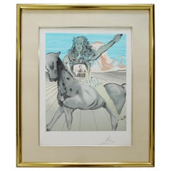 Mid-Century Modern Framed Salvador Dali Pencil Signed Etching Surrealist Knight