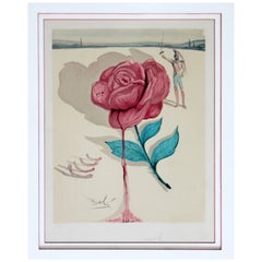Mid-Century Modern Framed Salvador Dali Signed A.P. Lithograph Red Rose