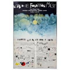 Mid-Century Modern Framed Saul Steinberg Music Poster, 1970s