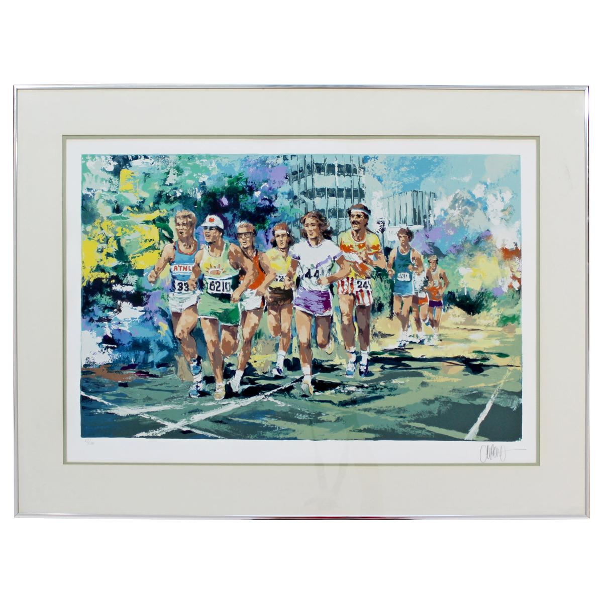 Mid-Century Modern Framed Serigraph Marathon Signed Wayland Moore 1978 67/300