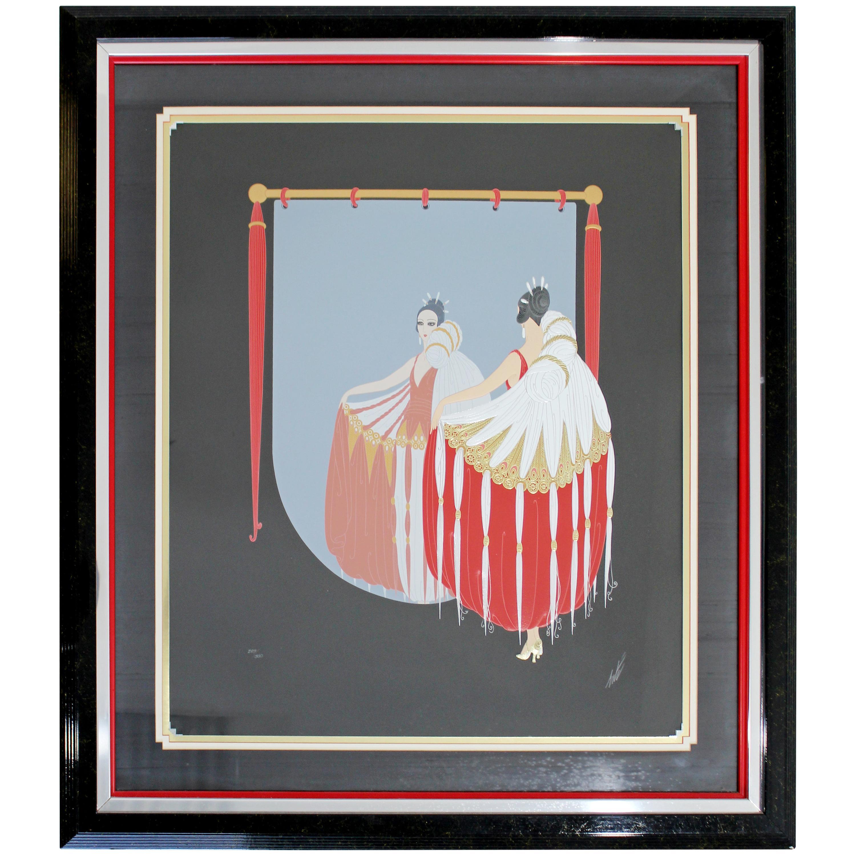 Mid-Century Modern Framed Serigraph w Gold Leaf The Mirror Signed Erte 1980s COA