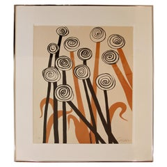 Mid-Century Modern Framed Signed Alexander Calder A.P. Lithograph Flowers