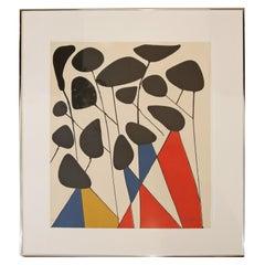 Mid-Century Modern Framed Signed Alexander Calder A.P. Lithograph Red Blue