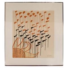 Mid-Century Modern Framed Signed Alexander Calder A.P. Lithograph Sun Orange
