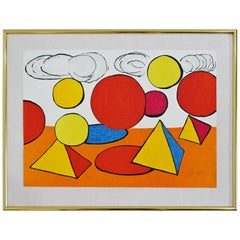 Mid-Century Modern Framed Signed Calder Pyramid Lithograph Orange Red Shapes